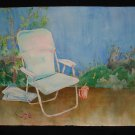 A Place to Rest, Lawn Chair Outside on Deck, watercolor on paper, unframed
