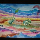 A Rare Find, Desert Foilage, Catus, moutains, original watercolor on paper, unframed