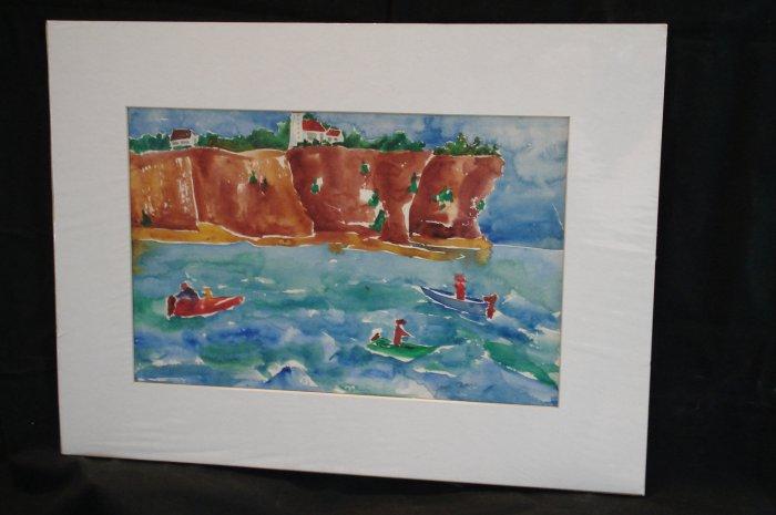 Anything Bite'n, Possum Kingdom Cliff, fishermen, boats, watercolor on paper, unframed