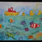At Play, Tub Toys, ducks, frog, fish, starfish, tug boat, watercolor on paper, unframed