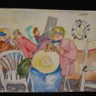 Biding Time, Cruise Ship, people on deck reading, napping, resting, watercolor on paper, unframed