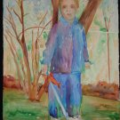 Brave Boy, playing in trees, sword for monsters, small boy, watercolor on paper, unframed