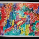 City Scrape, abstract, bright colors, whispy, Yupo, original, watercolor on paper, unframed