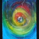 In or Out, Spiral in color, blues, yellow, reds, cool, abstract, watercolor on paper, unframed