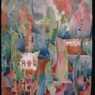 Jumble Sale, BBQ abstract, downtown Denton, easy colors, pastel, watercolor on paper, unframed