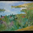 Copper Harbor, top view, houses, lighthouse, trees, car, watercolor on paper, unframed