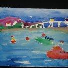 Newport Bridge, boats, water, bridge, fishing, bouys, watercolor on paper, unframed