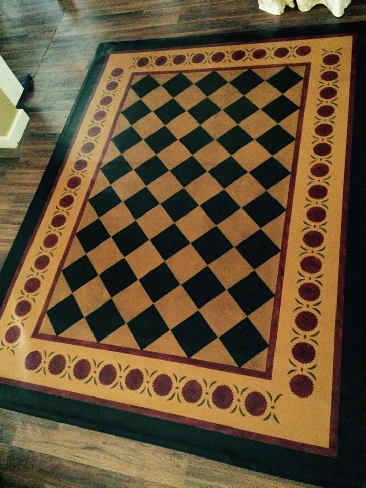 Primitive Handpainted 6x8 Floorcloth Floor Cloth Area Rug