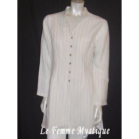 NEW Chico's Long Linen Metallic Stripe Tucany Tunic Shirt Jacket NWT 4/6 0