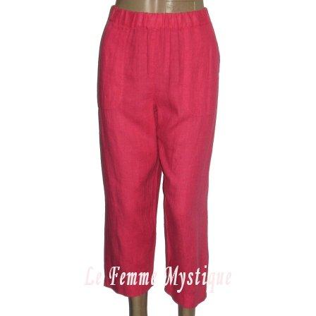 Chico's Cruise Wear Lino Linen Mirage Pink Pizaaz Lounge Capri Pants NWT 8/10 1