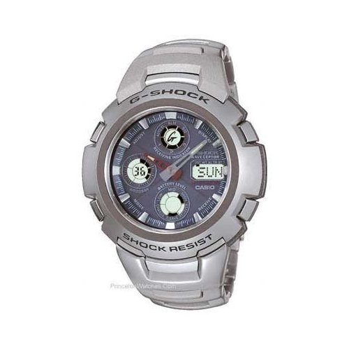 Casio G-Shock Solar Atomic Watch - Stainless - Blue Face - Red Hour Hand GW1000DJ-1
