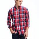 NEW Men's Regular-Fit Classic Shirt Old Navy Medium Red / Navy Plaid