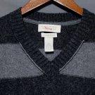 NEW Men's Banana Republic V-Neck Sweater Cashmere Cotton Angora Blend Grey LRG