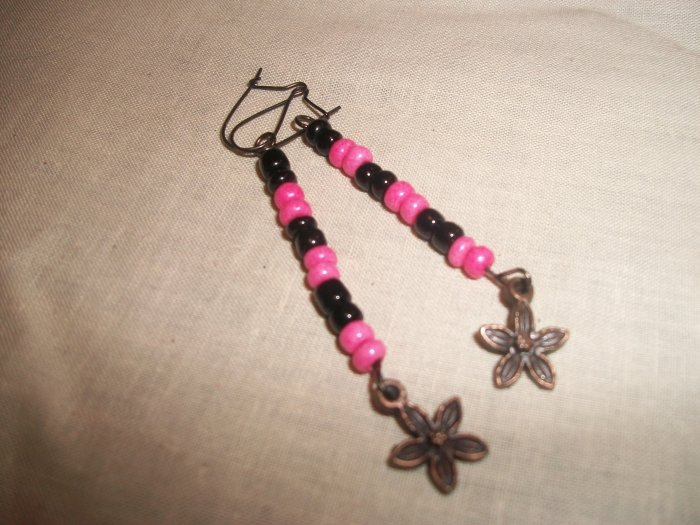 Black and Pink earrings with flowers