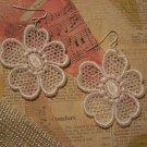 white lace flower earrings