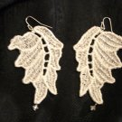 small white leaf lace earrings