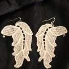 large white lace leaf earrings