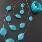 Turquoise Necklace, Earrings, and Bracelet