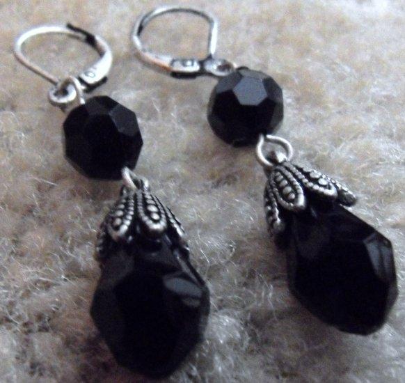 Black Marquise Earrings