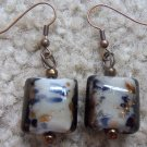 Blue & Brown Spotted Glass Earrings