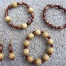 Natural Wood Bead Bracelets & Earrings