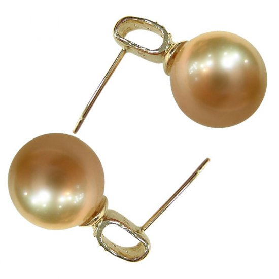 14K Gold 10-11mm Golden South Sea Pearl Earrings SEGG-301011002