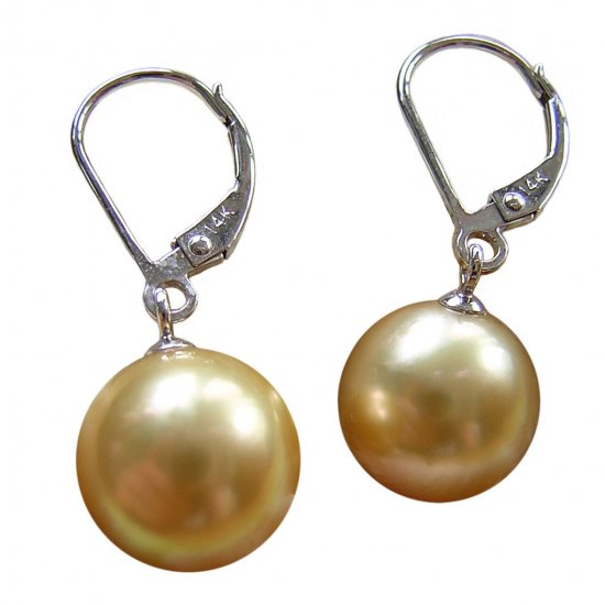 14K Platinum 10-11mm Golden South Sea Pearl Earrings SEWG-301011001