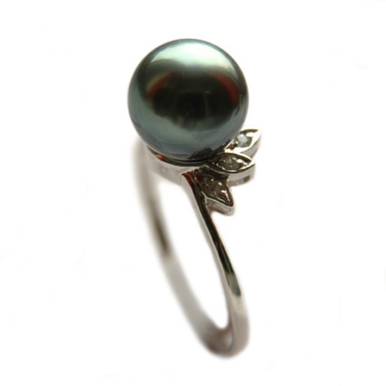 14K Platinum 8-9mm Tahitian South Sea Pearl Ring SRWB-300809022