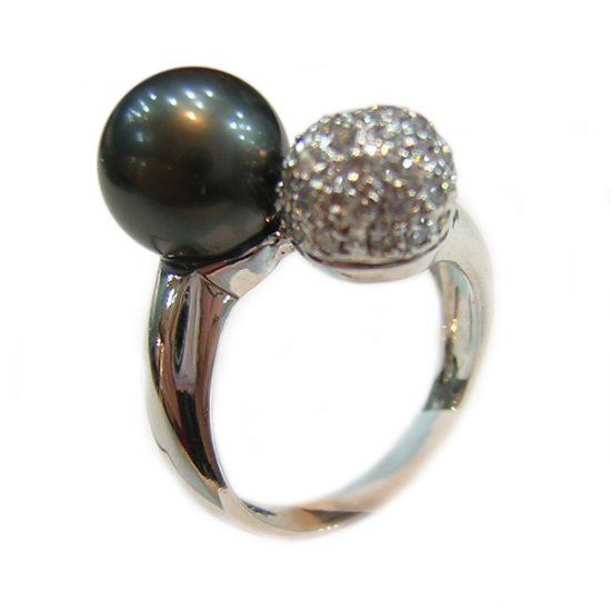 14K Platinum 8-9mm Tahitian South Sea Pearl Ring SRWB-300809025