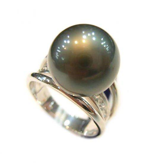 14K Platinum 11-12mm Tahitian South Sea Pearl Ring SRWB-301112016