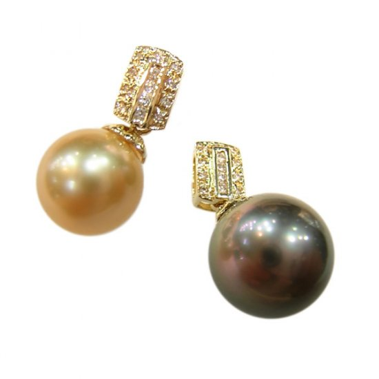 14K Gold 10-11mm Tahitian South Sea Pearl Pendants SPGG-301011005