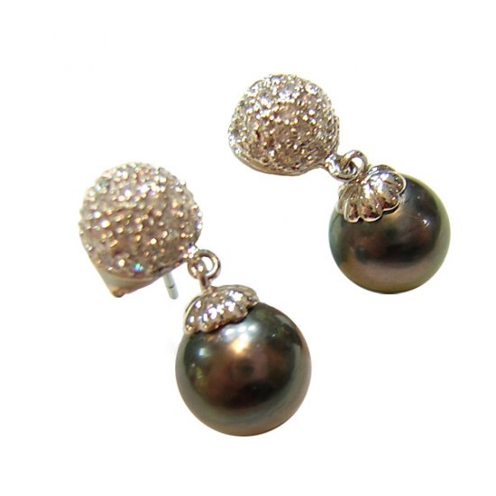 14K Platinum 8-9mm Tahitian South Sea Pearl Earrings SEWB-300809009