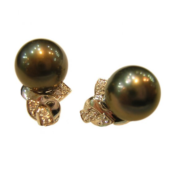 14K Platinum 11-12mm Tahitian South Sea Pearl Earrings SEWB-301112013