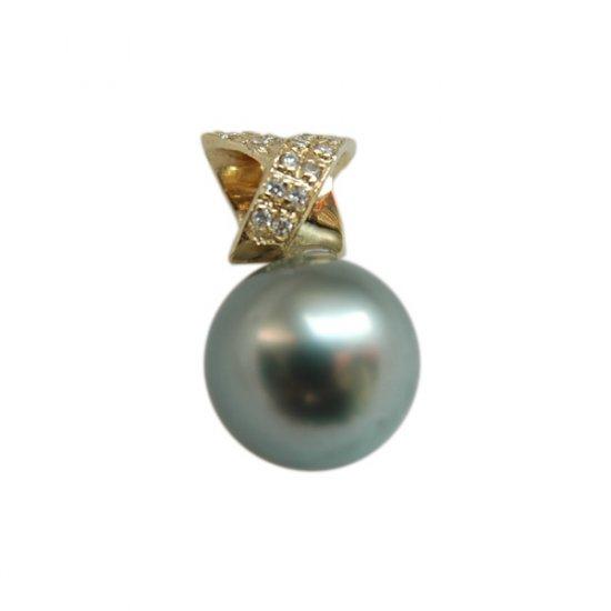 14K Gold 10-11mm Tahitian South Sea Pearl Pendants SPGB-301011014