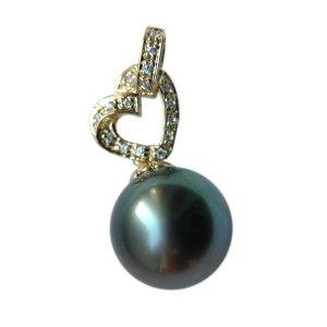 14K Platinum 12-13mm Tahitian South Sea Pearl Pendants SPGB-301213016