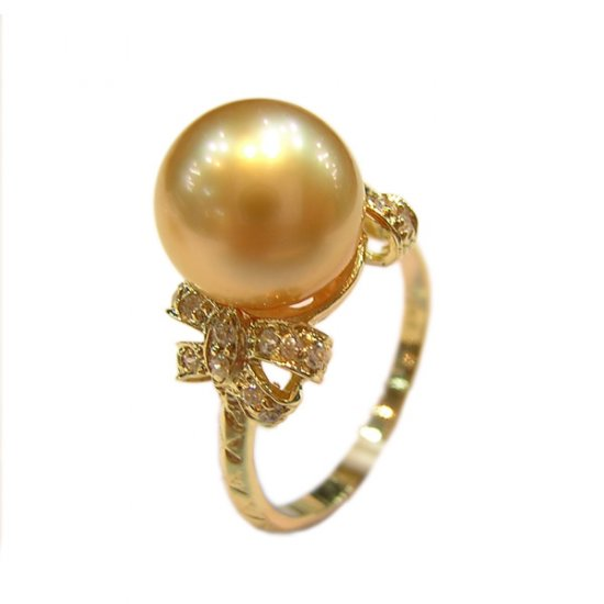 14K Gold 10-11mm Golden South Sea Pearl Ring SRGG-301011006