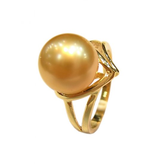 14K Gold 10-11mm Golden South Sea Pearl Ring SRGG-301011007