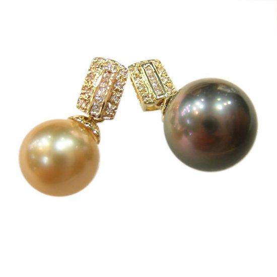 14K Gold 11-12mm Tahitian South Sea Pearl Pendants SPGB-301112005z