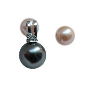14K Platinum 10-11mm Tahitian South Sea Pearl Pendants SPWB-301011024