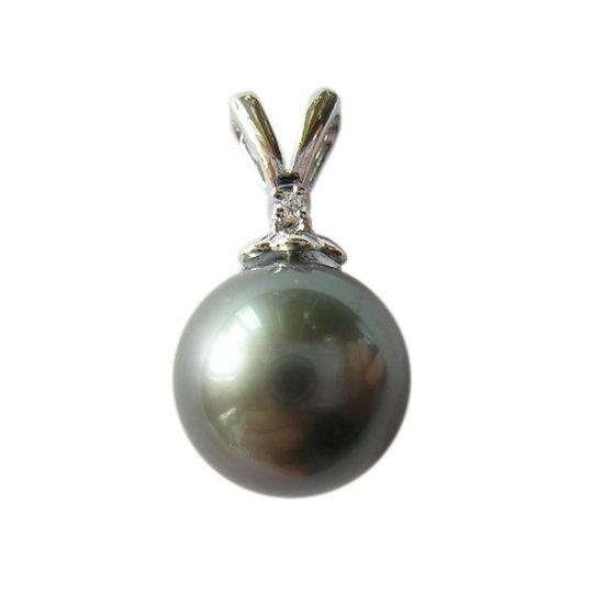 14K Platinum 10-11mm Tahitian South Sea Pearl Pendants SPWB-301112001