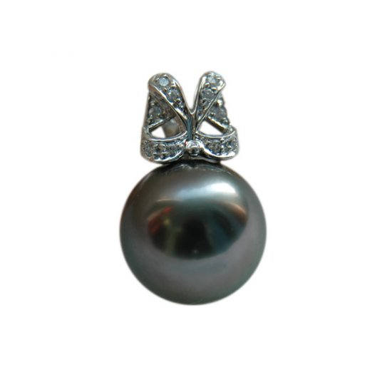 14K Platinum 11-12mm Tahitian South Sea Pearl Pendants SPWB-301112027