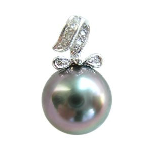 14K Platinum 12-13mm Tahitian South Sea Pearl Pendants SPWB-301213032