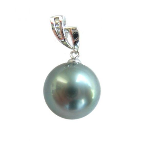 14K Platinum 12-13mm Tahitian South Sea Pearl Pendants SPWB-301213033