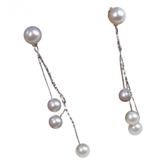 14K Gold 5-8mm Round Freshwater Pearl Earrings  FEWW-300508005