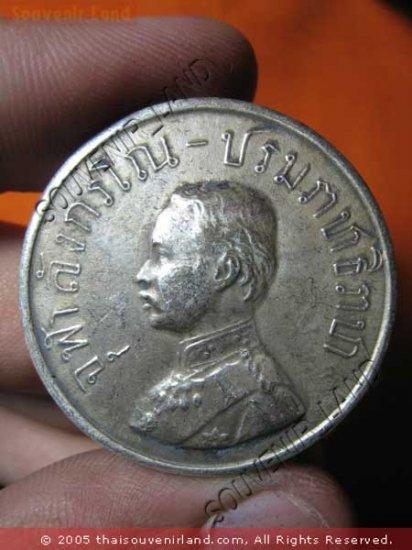 0919-OLD THAI BUDDHA AMULET COIN KING RAMA-5 SILVER