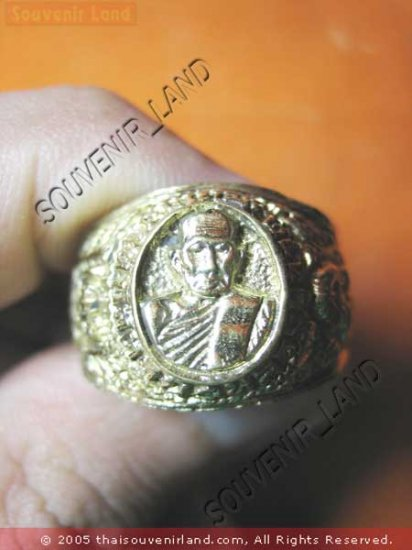 0790-VINTAGE OLD RARE THAI BUDDHA AMULET RING LP TUAD