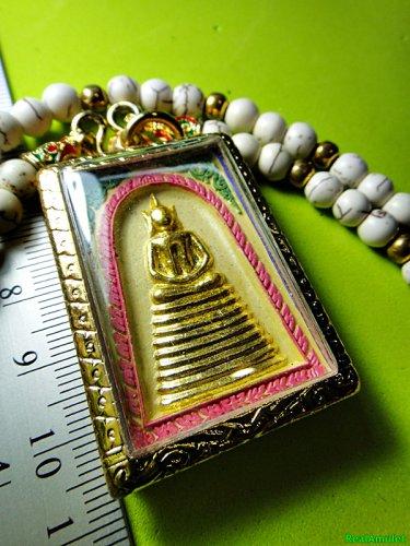 6480-THAI REAL AMULET SOMDEJ 108 MONK MASS BLESSED WAT NOK 9 SEAT GOLD YELLOW