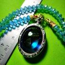 7406-THAI REAL AMULET PENDANT NAGA EYE DIVINE BLESSED RIVER GEM STONE LIGHT BLUE