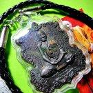 9445-REAL THAI AMULET PENDANT BIG MEDAL NARAI GOD OF MERCY LP KALONG NAWA BLACK