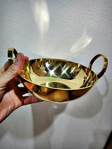 0023-VINTAGE HANDMADE DESSERT THAI THAILAND BRASS PAN COOKING KITCHEN POT 6.5INC